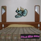 Triceratops Dinosaur Wall Decal - Wall Fabric - Repositionable Decal - Vinyl Car Sticker - usc002