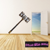 Viking Hammer Wall Decal - Wall Fabric - Repositionable Decal - Vinyl Car Sticker - usc006