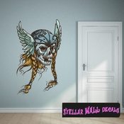 Viking Skull Wall Decal - Wall Fabric - Repositionable Decal - Vinyl Car Sticker - usc003