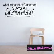 What happens at grandmas stats at grandmas! Mother's Day Holiday Wall Decals - Wall Quotes - Wall Murals F039 SWD