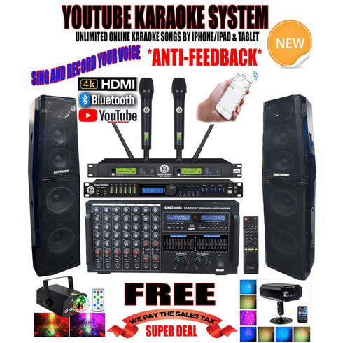 "<i><b><font color=""#FF0000"">Newest Model: 2020 Youtube Karaoke System by Iphone/Ipad &amp; PC Tablets</font></b></i> Professional 4000W Complete Karaoke System Special Built in HDMI, Voice Recording & Bluetooth Function  <font color=""#FF0000""><b><i>Anti-Feedback</i></b></font> Top of the Line"