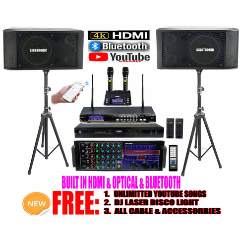 "Singtronic Professional Complete 3000W Karaoke System <font color=""#FF0000""><b><i>Newst: 2019 Loaded 80,000 Songs</i></b></font> Wifi, Voice Recording, Bluetooth, HDMI & Digital Optical/Coax"