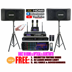 "Singtronic Professional Complete 3000W Karaoke System <font color=""#FF0000""><b><i>Newst: 2020 Loaded 80,000 Songs</i></b></font> Wifi, Voice Recording, Bluetooth, HDMI & Digital Optical/Coax"