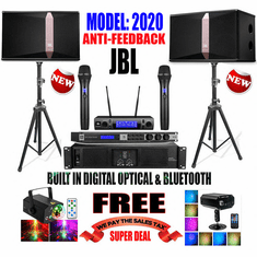 "<i><b><font color=""#FF0000"">JBL Model: 2020 Youtube Karaoke System by Iphone/Ipad &amp; PC Tablets</font></b></i> Professional Complete Karaoke System Special Built in Optical, Auto Pilot, Digital Sound Processor <font color=""#FF0000""><b><i>Anti-Feedback </i></b></font> Perfect for Home Use"