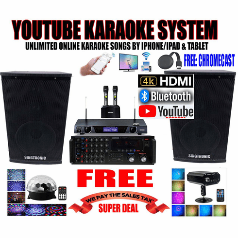 """<i><b><font color=""""#FF0000"""">Model: 2019 Youtube Karaoke System by Iphone/Ipad &amp; Pc Tablet</font></b></i> Professional 2000W Complete Karaoke System Special Built in HDMI, USB & Bluetooth Function"""