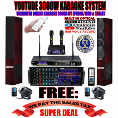 "<i><b><font color=""#FF0000"">Newest Model: 2019 Youtube Karaoke System by Iphone/Ipad &amp; Pc Tablet</font></b></i> Professional 3000W Complete Karaoke System Special Built in HDMI, USB Voice Record, Bluetooth Function & Optical / Coax <font color=""#FF0000"">Free: UHF-2000 Rechargeable Wireless Microphone</font>"
