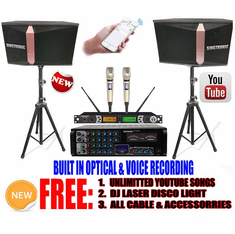 Model: 2020 Youtube Karaoke System by Iphone/Ipad & Pc Tablet Professional 1200W Complete Karaoke System Built in USB Voice Record, Bluetooth & Optical