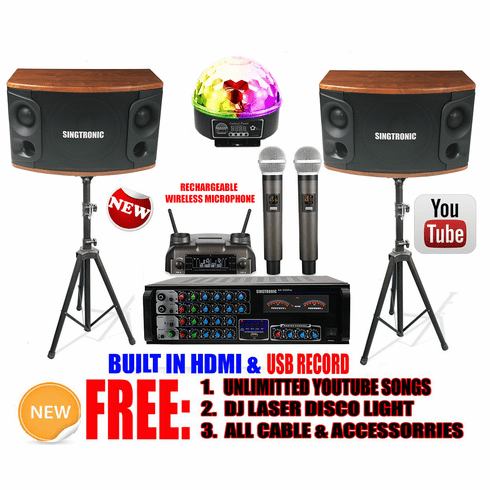 Singtronic Professional 1200W Youtube Karaoke System Control via Iphone/Ipad & Android Tablets Built in USB Voice Record, Bluetooth, Optical & HDMI-Arc