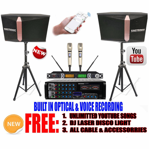 "<i><b><font color=""#FF0000"">Model: 2020 Youtube Karaoke System by Iphone/Ipad &amp; Pc Tablet</font></b></i> Professional 1200W Complete Karaoke System Built in USB Voice Record, Bluetooth & Optical"