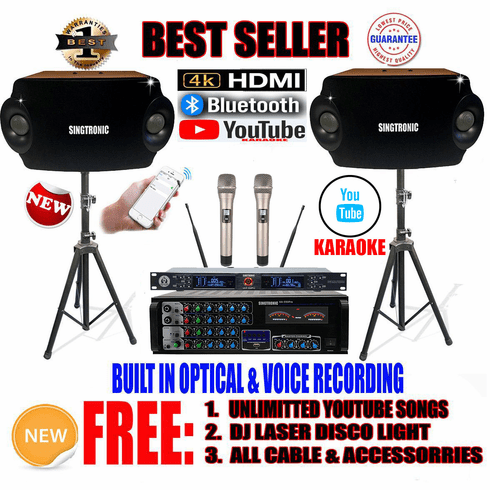 """<i><b><font color=""""#FF0000"""">Model: 2020 Youtube Karaoke System by Iphone/Ipad &amp; Pc Tablet</font></b></i> Professional 1500W Complete Karaoke System Special Built in Optical, HDMI & Bluetooth"""