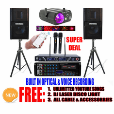 Model: 2021 Youtube Karaoke System by Iphone/Ipad & Pc Tablet Professional 1500W Complete Karaoke System Special Built in Optical, HDMI & Bluetooth