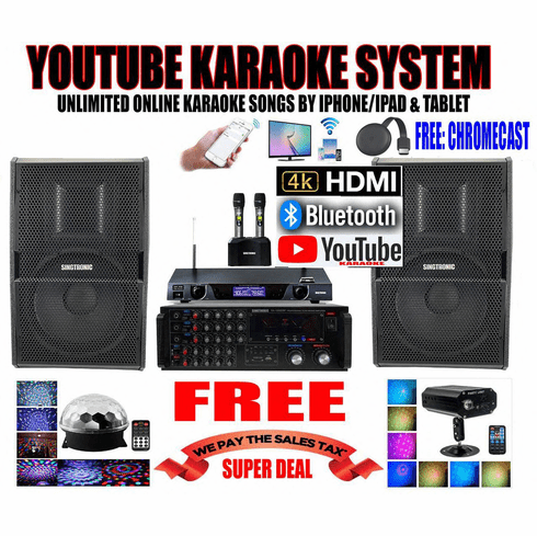 """<i><b><font color=""""#FF0000"""">Model: 2020 Youtube Karaoke System by Iphone/Ipad &amp; Pc Tablet</font></b></i> Professional 2000W Complete Karaoke System Special Built in HDMI, USB & Bluetooth Function"""