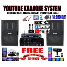 "<i><b><font color=""#FF0000"">Model: 2020 Youtube Karaoke System by Iphone/Ipad &amp; Pc Tablet</font></b></i> Professional 2000W Complete Karaoke System Special Built in HDMI, USB & Bluetooth Function"