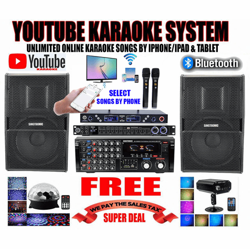 """<i><b><font color=""""#FF0000"""">Model: 2020 Youtube Karaoke System by Iphone/Ipad &amp; Pc Tablet</font></b></i> Professional 2000W Complete Karaoke System Special with HDMI, Optical & Bluetooth <font color=""""#003FFF"""">Best Seller</font>"""