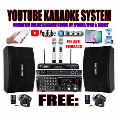 "<i><b><font color=""#FF0000"">Model: 2020 Youtube Karaoke System by Iphone/Ipad &amp; Pc Tablet</font></b></i> Professional 2000W Complete Karaoke System Special Built in Optical, HDMI & Bluetooth"