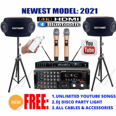 "<i><b><font color=""#FF0000"">Model: 2021 Youtube Karaoke System by Iphone/Ipad &amp; Pc Tablet</font></b></i> Professional 2000W Complete Karaoke System Special with HDMI, USB Voice Record, Optical & Bluetooth <font color=""#003FFF"">Best Seller</font>"
