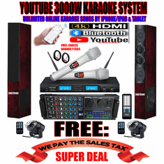 """<i><b><font color=""""#FF0000"""">Model: 2019 Youtube Karaoke System by Iphone/Ipad &amp; Pc Tablet</font></b></i> Professional 3000W Complete Karaoke System Special Built in HDMI & Bluetooth Function & Optical / Coax"""