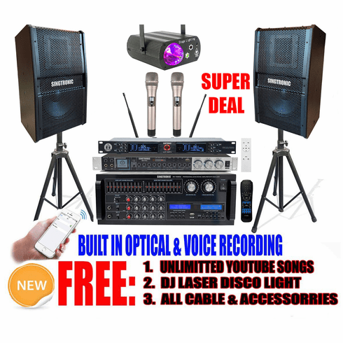 """<i><b><font color=""""#FF0000"""">Newest: 2021 Youtube Karaoke System by Iphone/Ipad &amp; Pc Tablet</font></b></i> Singtronic Professional 2000W Complete Karaoke System Built in HDMI, USB Voice Record, Bluetooth & Optical <font color=""""#FF0000"""">Anti-Feedback</font>"""