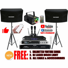 Singtronic Professional 3000W Youtube Karaoke System Built in Anti-Howling, Feedback Eliminator, Optical & Bluetooth with Unlimited Youtube Songs control by Phones Apps. Best Seller