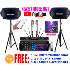 Newest: 2021 Youtube Karaoke System by Iphone/Ipad & Pc Tablet Professional 2500W Complete Karaoke System Built in HDMI, USB Voice Record, Bluetooth & Optical Best Seller