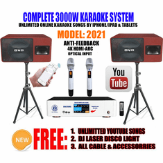 Newest: 2021 Youtube Karaoke System by Iphone/Ipad & Pc Tablet Professional 3000W Complete Karaoke System Special Built in Bluetooth, Optical & HDMI-Arc Touch Screen