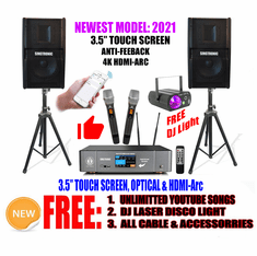 "Singtronic Professional 3000W Youtube Karaoke System Built in 3.5"" Touch Screen, 4K HDMI-Arc, Optical, and Bluetooth with Unlimited Youtube Songs by Iphone/Ipad & Androids Newest: 2021"