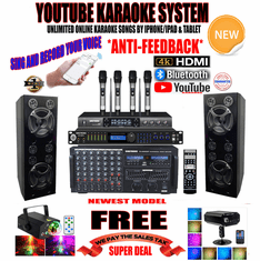 """<i><b><font color=""""#FF0000"""">Newest Model: 2019 Youtube Karaoke System by Iphone/Ipad &amp; PC Tablets</font></b></i> Professional 4000W Complete Karaoke System Special Built in HDMI, Bluetooth & Voice Recording  <font color=""""#FF0000""""><b><i>Free: UHF-3500 Quad Wireless Microphone</i></b></font> Perfect for DJ & KJ"""