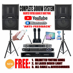 "<i><b><font color=""#FF0000"">Newest Model: 2020 Youtube Karaoke System by Iphone/Ipad &amp; Pc Tablet</font></b></i> Professional 3000W Complete Karaoke System Special Built in Bluetooth & Optical / Coax <font color=""#FF0000"">Perfect for Home</font>"