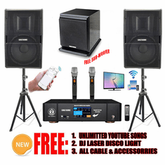Newest Model: 2021 Youtube Karaoke System by Iphone/Ipad & Pc Tablet Professional 3000W Complete Karaoke System Special Built in Bluetooth, Optical & HDMI-Arc Touch Screen