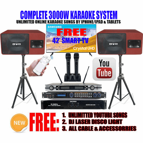 """<i><b><font color=""""#FF0000"""">Newest Model: 2020 Youtube Karaoke System by Iphone/Ipad &amp; Pc Tablet</font></b></i> Professional 3000W Complete Karaoke System Special Built in Bluetooth & Optical / Coax <font color=""""#FF0000"""">Father's Day Special FREE: 42"""" SamSung Smart TV</font>"""