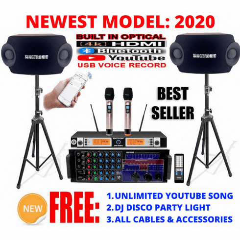 "<i><b><font color=""#FF0000"">Newest: 2020 Youtube Karaoke System by Iphone/Ipad &amp; Pc Tablet</font></b></i> Professional 2500W Complete Karaoke System Built in HDMI, USB Voice Record, Bluetooth & Optical <font color=""#FF0000"">Best Seller</font>"