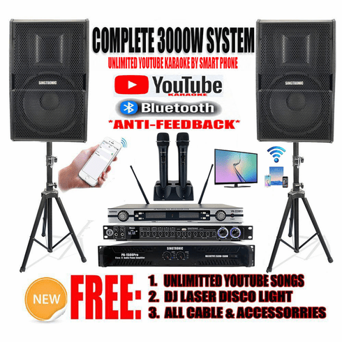 """<i><b><font color=""""#FF0000"""">Newest Model: 2020 Youtube Karaoke System by Iphone/Ipad &amp; Pc Tablet</font></b></i> Professional 3000W Complete Karaoke System Special Built in Bluetooth & Optical / Coax <font color=""""#FF0000"""">Perfect for Home</font>"""