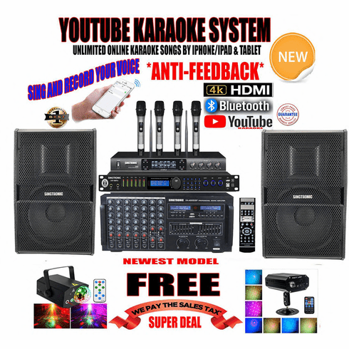 "<i><b><font color=""#FF0000"">Newest Model: 2020 Youtube Karaoke System by Iphone/Ipad &amp; PC Tablets</font></b></i> Professional 4000W Complete Karaoke System Special Built in HDMI, Bluetooth & Voice Recording  <font color=""#FF0000""><b><i>Anti-Feedback </i></b></font> Perfect for DJ & KJ"