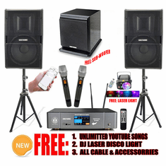 Newest: 2021 Youtube Karaoke System by Iphone/Ipad & Pc Tablet Professional 3000W Complete Karaoke System Special Built in Bluetooth, Optical & 4K HDMI-Arc Touch Screen