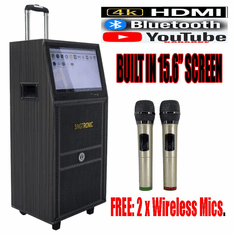 """Singtronic BT-888Pro Professional Android 12"""" Bluetooth Speaker via Youtube Karaoke System Free: 2 x Wireless Microphone Karaoke and 15.6"""" Touch Screen"""
