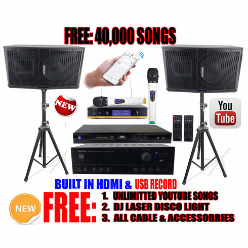 """Singtronic Complete 1000W Karaoke System Specials with 40,000 Songs <i><b><font color=""""#FF0000"""">Newest Model: 2020 Built HDMI & Voice Recording & Youtube Unlimited Songs</font></b></i>"""