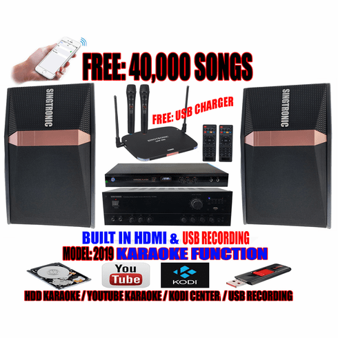 "Singtronic Complete 1000W Karaoke System Specials with 40,000 Songs  <b><font color=""#FF0000"">M<i>odel: 2019 With Voice Recording &amp; Wifi  Youtube Unlimited Karaoke Songs</i></font></b>"