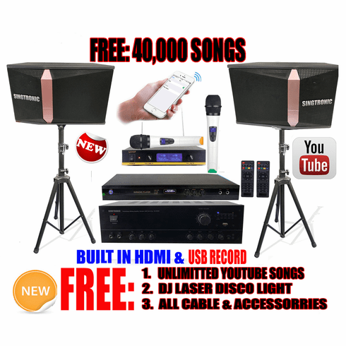 """Singtronic Complete 1000W Karaoke System Specials with 40,000 Songs <i><b><font color=""""#FF0000"""">Newest Model: 2019 Built HDMI & Voice Recording & Youtube Unlimited Songs</font></b></i>"""
