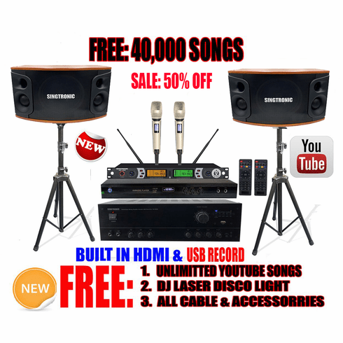 "Singtronic Complete 1200W Karaoke System Specials with 40,000 Songs <i><b><font color=""#FF0000"">Newest Model: 2020 Built HDMI & Voice Recording & Youtube Unlimited Songs</font></b></i>"