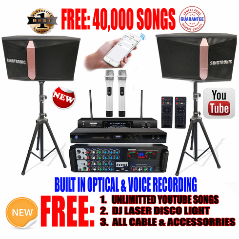 "Singtronic Complete 1200W Karaoke System Specials with 40,000 Songs <i><b><font color=""#FF0000"">Newest Model: 2019 Built HDMI & Voice Recording & Youtube Unlimited Songs</font></b></i>"