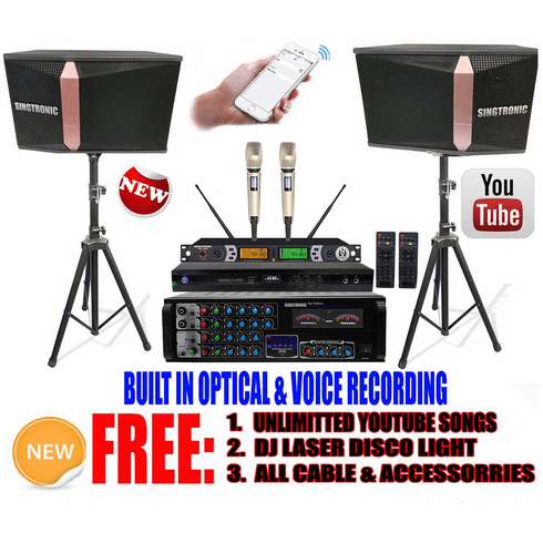 "Singtronic Complete 1500W Karaoke System Specials with 50,000 Songs <i><b><font color=""#FF0000"">Newest Model: 2020 Built 4K HDMI & Voice Recording & Youtube Unlimited Songs</font></b></i>"