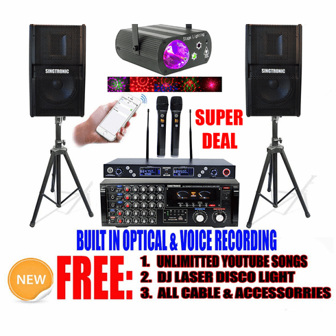 """<font color=""""#FF0000"""">Youtube Karaoke System via Iphone/Ipad &amp; Pc Tablet</font> Singtronic Professional 2000W Karaoke System with HDMI, Voice Record, Optical & Bluetooth <font color=""""#003FFF"""">Perfect for Home</font>"""