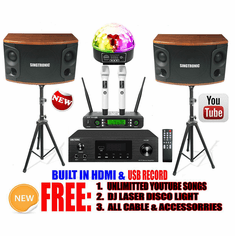 Singtronic Mini 1000W Youtube Karaoke System Select Songs by Iphone/Ipad & PC Tablets Built in HDMI-Arc, AM & FM Radios, Optical Input & Bluetooth Function. Model: 2021