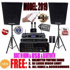 "Singtronic Complete Professional 2000W Karaoke System <font color=""#FF0000""><b><i>Model: 2019 Loaded 50,000 Songs</i></b></font> Wifi, HDMI, USB Playback, Bluetooth & Youtube Unlimited Songs"