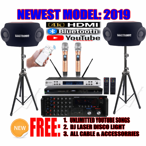 """Singtronic Complete Professional 2000W Karaoke System <font color=""""#FF0000""""><b><i>Newest: 2019 Loaded 50,000 Songs</i></b></font> Wifi, HDMI, Bluetooth Function & Unlimited Youtube Songs"""
