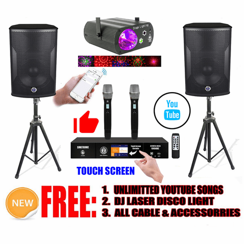"""Singtronic Professional 2000W Youtube Karaoke System Built in 3.5"""" Touch Screen, 4K HDMI-Arc, Optical & Bluetooth with Unlimited Youtube Karaoke Songs via Iphone/IPad & Android"""
