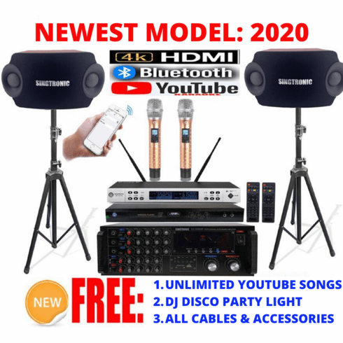"Singtronic Complete Professional 2000W Karaoke System <font color=""#FF0000""><b><i>Model: 2020 Loaded 50,000 Songs</i></b></font> Wifi, HDMI, Voice Recording, Bluetooth & Youtube Unlimited Songs"