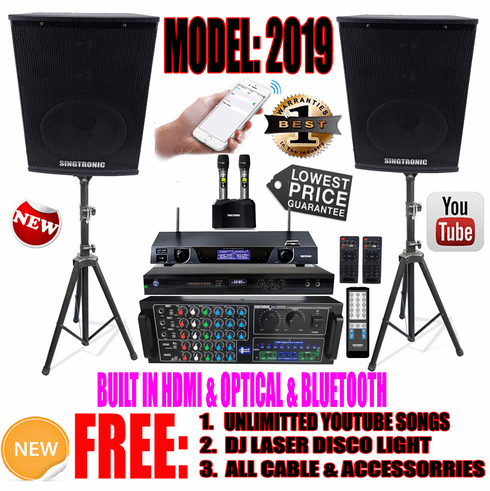 "Singtronic Complete Professional 1500W Karaoke System Specials <b><i><font color=""#FF0000"">FREE: 80,000 Songs & Unlimited Youtube Songs</font></i></b> Built in Wifi, HDMI, Optical & Bluetooth"