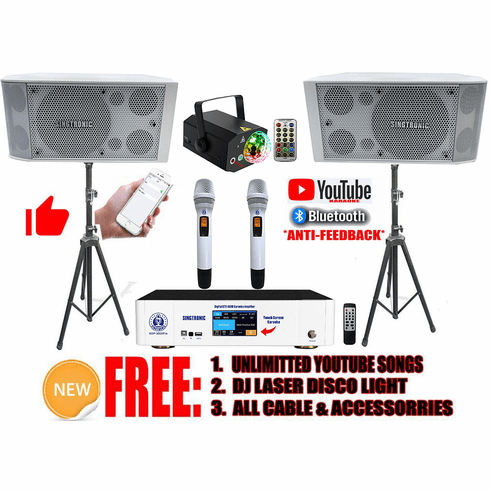 "Singtronic Youtube Karaoke System by Iphone/Ipad &amp; Pc Tablet Professional 3000W Complete Karaoke System Special Built in Bluetooth, Optical & 4K HDMI-Arc <font color=""#FF0000"">Pearl Crystal White</font>"