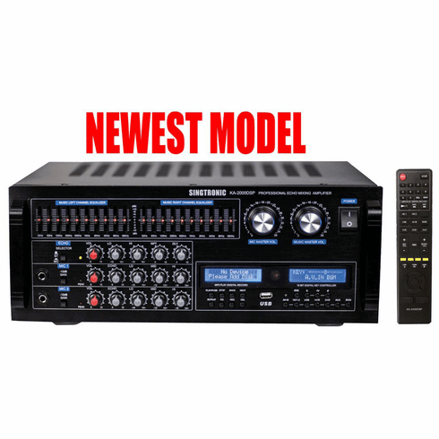 "Singtronic KA-2000DSP Professional DJ/KJ Digital 2000W Mixing Amplifier Karaoke HDMI, USB Voice Recording & Bluetooth Function <font color=""#FF0000""><b><i>Model: 2019 Built in Dual 8 Band Equilizer</i></b></font>"